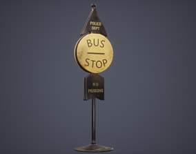 3D model Bus Stop Pole Low Poly