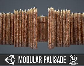 3D model Modular castle wooden palisade