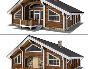 Log house - rounded log trumpet 3D