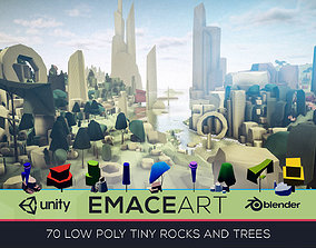 3D model Low Poly Nature Project - Trees And Rocks Pack 1