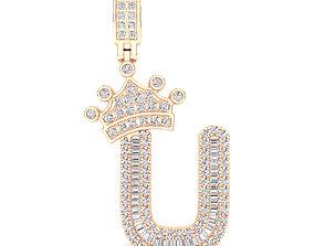 Crown Initial U Letter Pendant 3D printable model