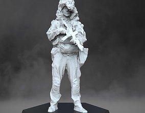 Soldier in ghillie helmet miniatures 3D print model