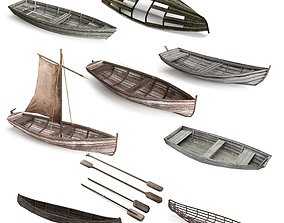 Wooden Boat Pack Low-poly 3D model