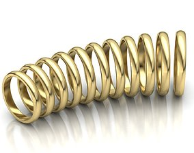 3D print model D-shaped classic band ring 3mm wide