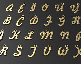 26 Alphabet letter Pendant 3dm model 3D Model