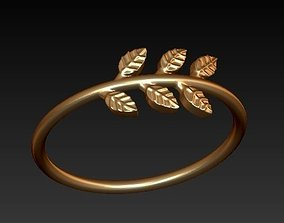 leaf ring bohemian style organic 3D printable model