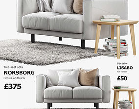 3D IKEA NORSBORG Two-seat sofa with side table and rug