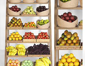 3D Showcase with fruits and vegetables