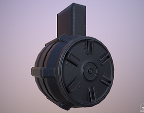3D asset Round Drum Magazine - Weapon Attachment - PBR - 1