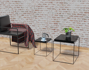 Centro e cadeira estilo industrial 3D model