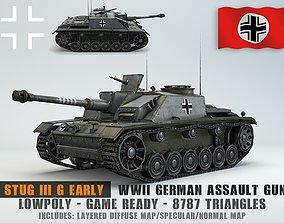 3D asset Low Poly Stug III Ausf G Early assault gun
