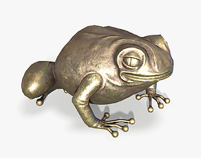 Brass Toad Figurine lowpoly 3D asset