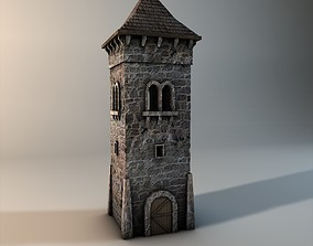 Low poly stone tower 3D asset