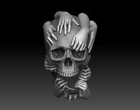 Skull and Hands Relief 3D print model cnc bone