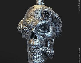 3D print model Biker snake skull vol11 Pendant jewelry
