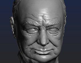 Churchill head 3D printable model bust