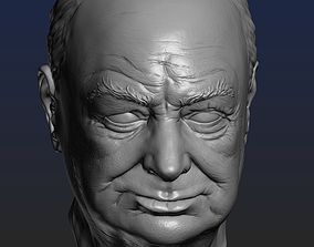 Churchill head 3D printable model bust