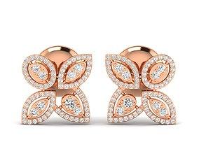 silver delicate Women earrings 3dm stl render detail