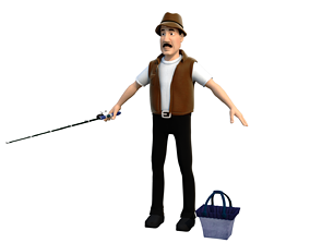 3D model OBJ fisherman D cartoon rigged character