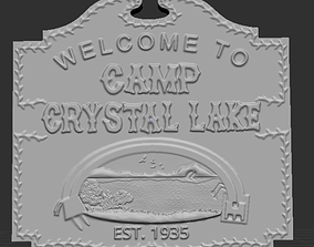 Friday 13th Camp Crystal Lake Sign Relief 3D print model 4