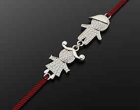 Bracelet charm for mom Boy and Girl 3D print model