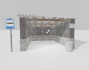 3D asset Old Russian bus stop