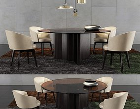 3D Minotti Lou Dining Table and Amelie Dining Chair