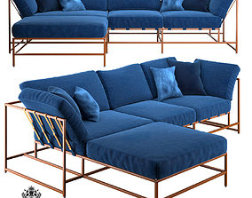 Corner sofa Indigo Denim and copper 3D