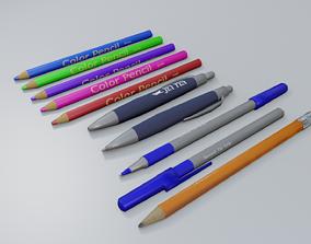 basic pens and pencils set 3D model
