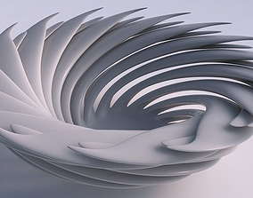 Bowl two layered flower twisted 3D print model