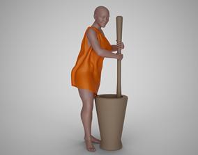 Woman Pounding Wheat 3D print model