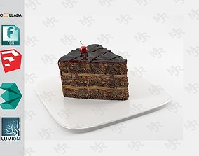 Slice of chocolate cake 3D