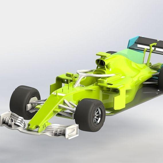 Racing car with 3D models