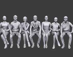 Lowpoly People Sitting Pack Volume 6 3D asset