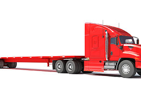 Freightliner Truck with Flatbed Trailer 3D model