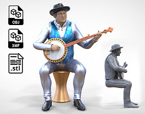 N4 Musician Banjo player 1 64 3D printable model