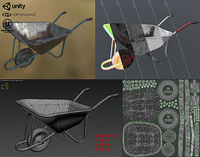 3D model low-poly Construction wheelbarrow