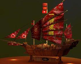 Chinese junk ship 3D asset