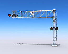 Crossing Gate Signals 3D model low-poly