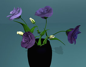 Flower of lisianthus multicolor rigged low poly 3D model 1