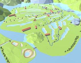 3D asset Golf Game Low Poly