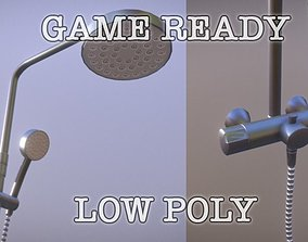 Metallic Wall And Hand Shower Low Poly Game Ready 3D asset