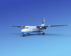 Fokker 50 Universal Charter 3D model