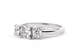 3D print model Three stone round cut engagement rings
