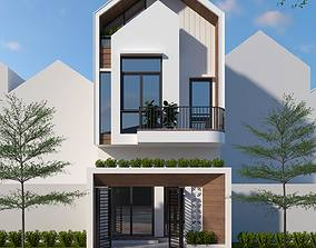 suburban House design 3d model animated