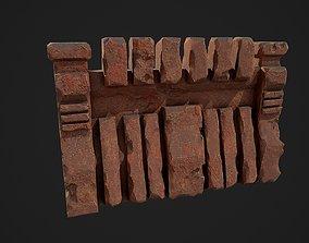 3D model Fantasy red rocky wall pattern