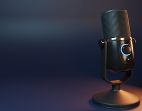 Condensed Microphone 3D model rigged low-poly