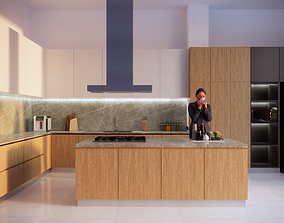 3D Rendering Realistic Kitchen Set