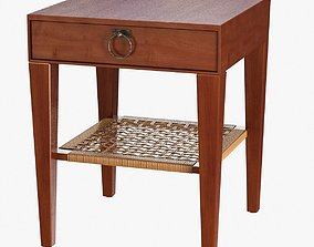 Bedside table with rattan shelf 3D model