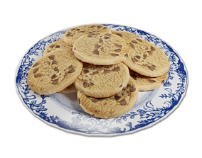 Plate of Chocolate Chip Cookies 3D asset